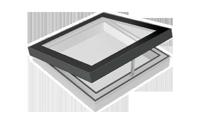 Piktogramm eines zu öffnenden SkyVision COMFORT Flachdachfensters