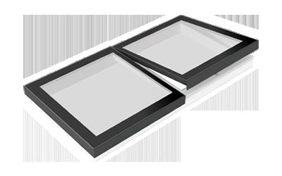 SkyVision LINEAR: Piktogramm eines zu öffnenden und festverglasten Flachdachfensters